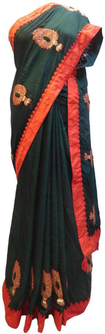 Green Designer Wedding Partywear Crepe (Chinon) Hand Embroidery Thread Zari Gota Work Kolkata Saree Sari E176