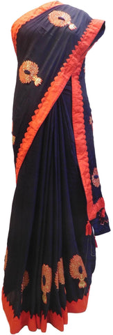 Blue Designer Wedding Partywear Crepe (Chinon) Hand Embroidery Thread Zari Gota Work Kolkata Saree Sari E177