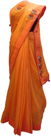 Peach Designer Wedding Partywear Crepe (Chinon) Hand Embroidery Thread Zari Cutdana Stone Work Kolkata Saree Sari E178