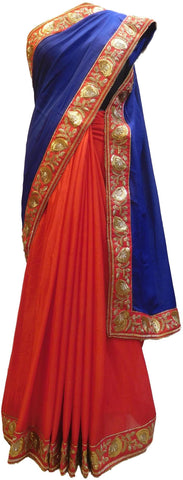 Blue & Red Designer Wedding Partywear Crepe (Chinon) Hand Embroidery Sequence Zari Pearl Stone Work Kolkata Saree Sari E182