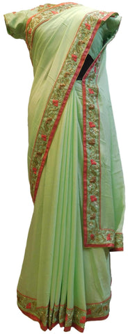 Green Designer Wedding Partywear Crepe (Chinon) Hand Embroidery Sequence Thread Bullion Cutdana Work Kolkata Saree Sari With Ready To Wear Stitched Blouse E184