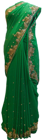 Green Designer Wedding Partywear Georgette Hand Embroidery Cutdana Stone Thread Work Kolkata Saree Sari E185