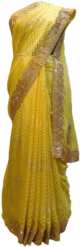 Yellow Designer PartyWear Brasso Thread Zari Stone Work Saree Sari E189
