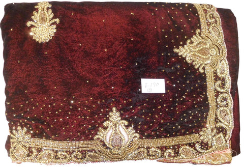 Wine & Pink Designer Wedding Partywear Velvet & Satin Silk Hand Embroidery Stone Thread Bullion Cutdana Work Kolkata Heavy Border Saree Sari E190