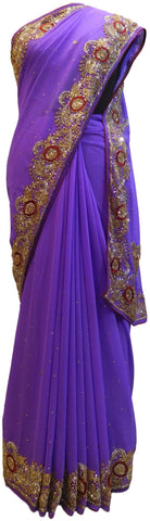 Lavender Designer Wedding Partywear Georgette Hand Embroidery Cutdana Stone Thread Work Kolkata Saree Sari E192
