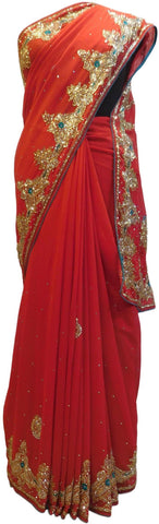 Red Designer Wedding Partywear Georgette Hand Embroidery Cutdana Stone Thread Work Kolkata Saree Sari E193