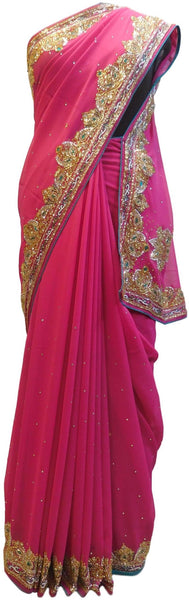 Pink Designer Wedding Partywear Georgette Hand Embroidery Cutdana Stone Thread Work Kolkata Saree Sari E194