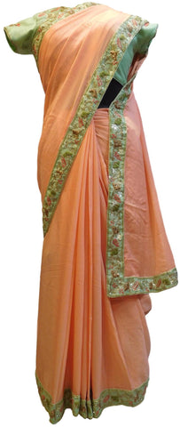Peach Designer Wedding Partywear Ethnic Bridal Crepe (Chinon) Hand Embroidery Sequence Thread Bullion Cutdana Work Kolkata Women Saree Sari With Ready To Wear E202