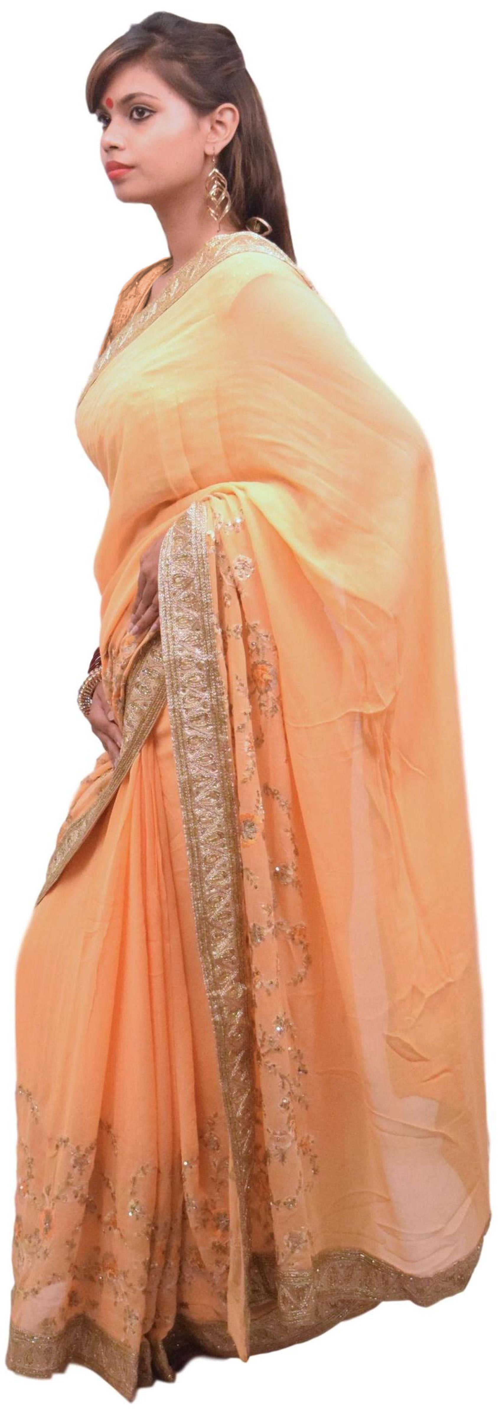 Peach Designer Wedding Partywear Ethnic Bridal Georgette (Viscos) Sequence Beads Zari Thread Cutdana Bullion Stone Hand Embroidery Work Kolkata Women Saree Sari E205