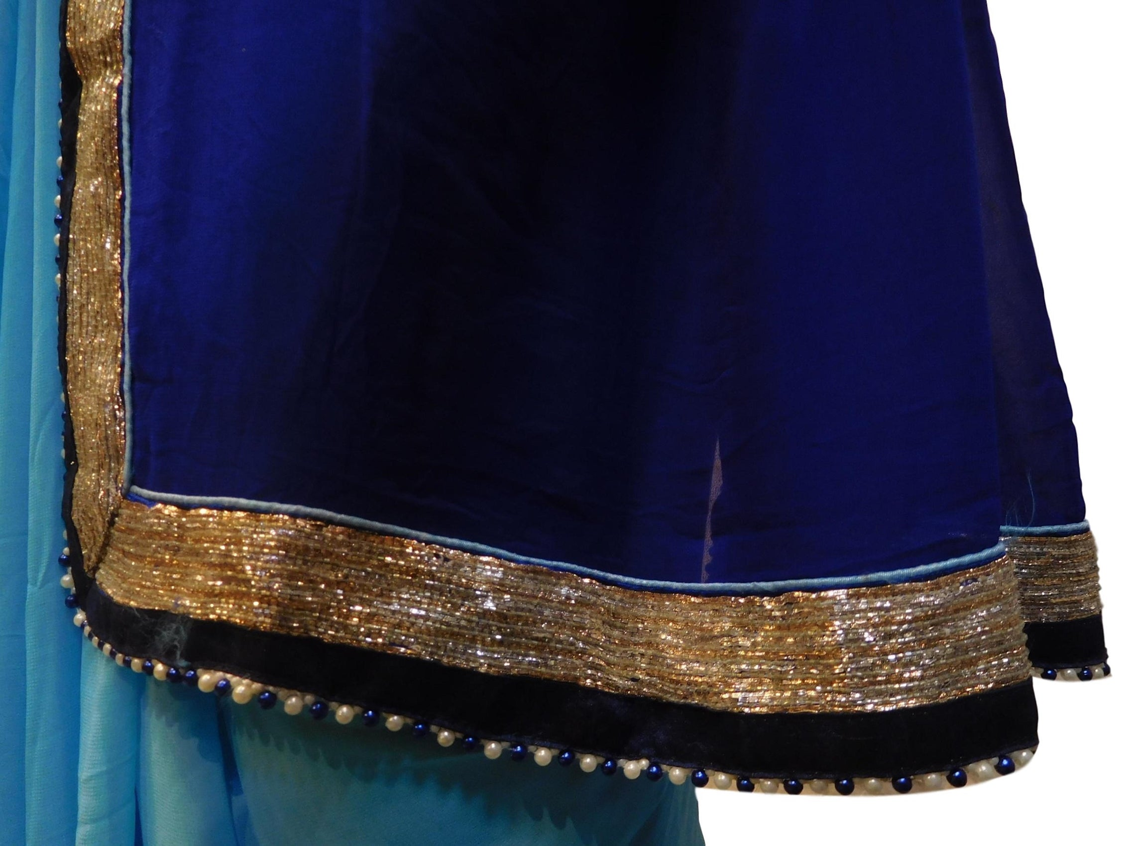 Blue & Sky Blue Designer Wedding Partywear Bridal Crepe (Chinon) Ethnic Hand Embroidery Pearl Bullion Work Kolkata Women Saree Sari E210