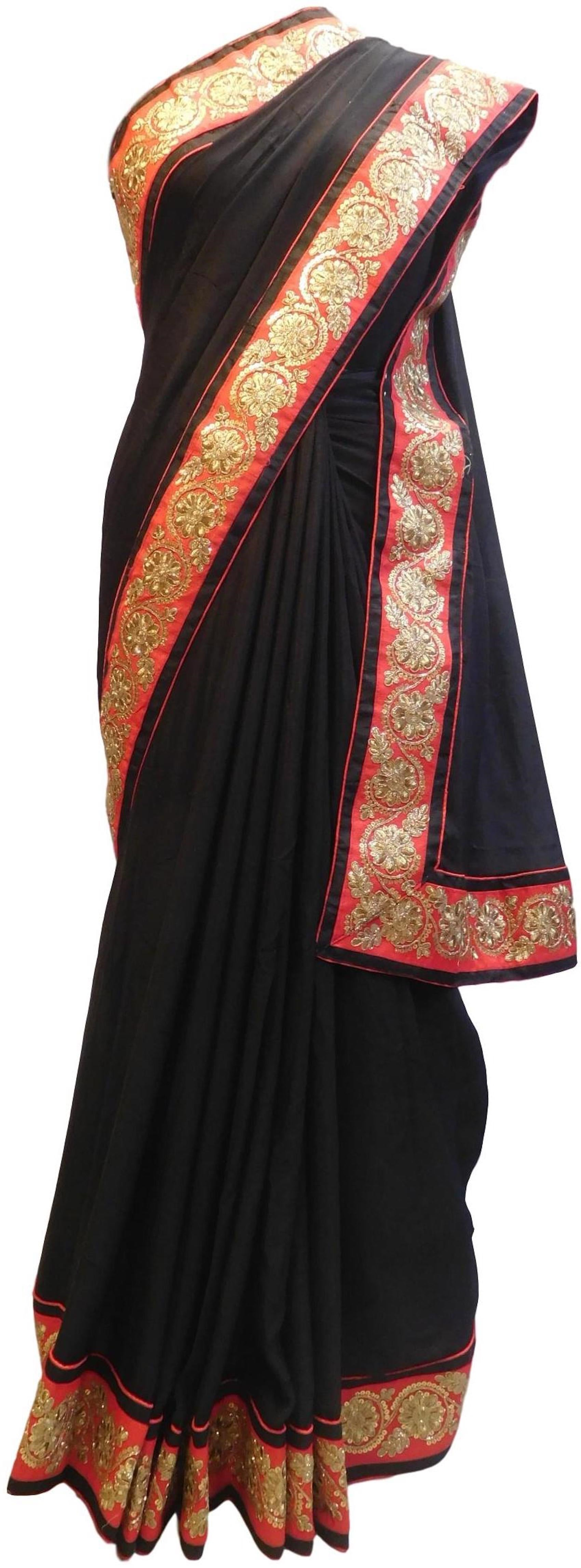 Black Designer Wedding Partywear Ethnic Bridal Crepe (Chinon) Hand Embroidery Sequence Zari Work Kolkata Women Saree Sari E212