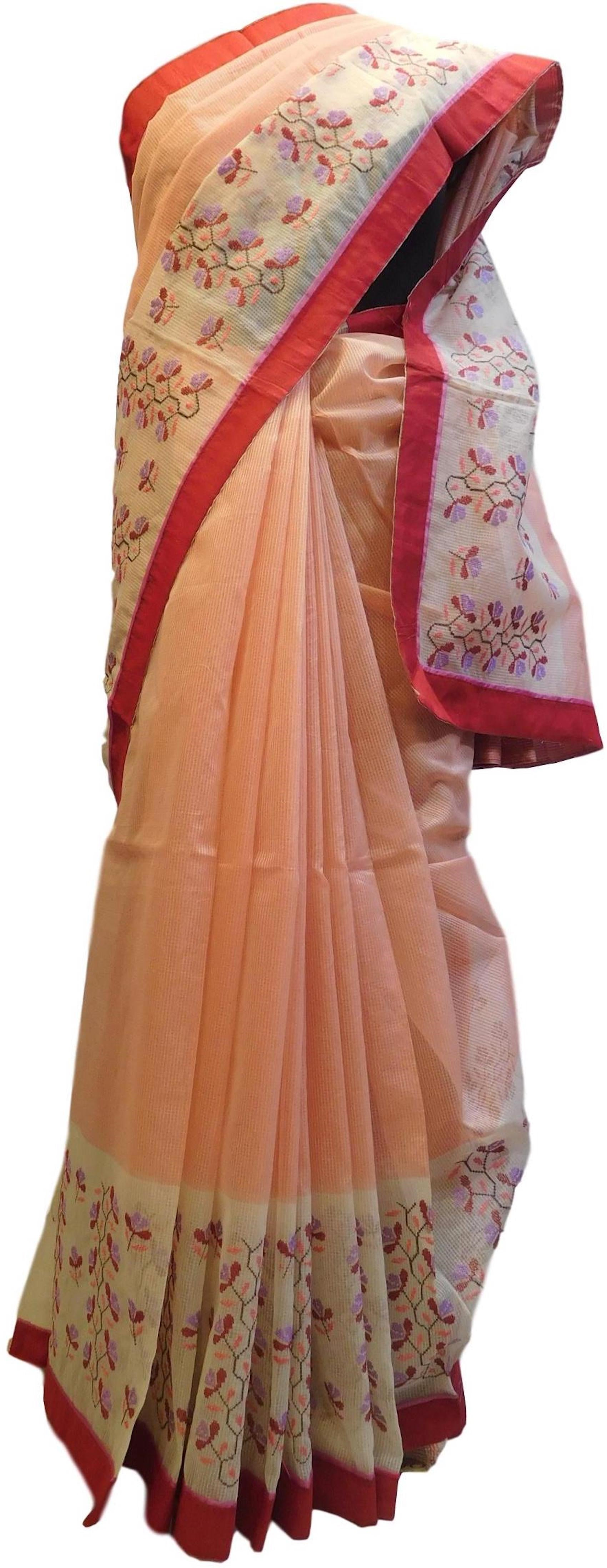 Peach & Cream Designer PartyWear Pure Supernet (Cotton) Thread Work Saree Sari With Red Border E218