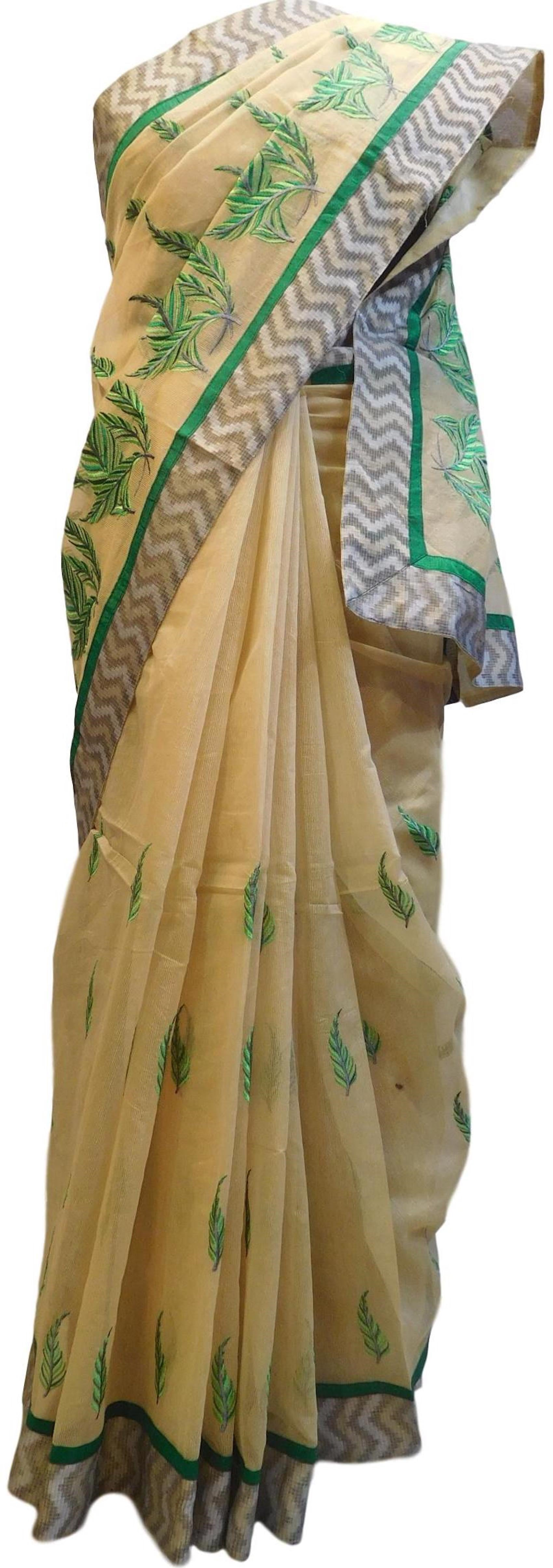 Beige Designer PartyWear Pure Supernet (Cotton) Thread Work Saree Sari With Grey Border E219