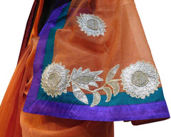 Orange Designer PartyWear Pure Supernet (Cotton) Thread Gota Work Saree Sari With Purple Seagreen Border E220