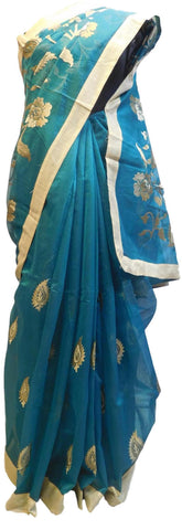 Turquoise Designer PartyWear Pure Supernet (Cotton) Thread Work Saree Sari With Golden Border E221