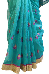 Turquoise Designer PartyWear Pure Supernet (Cotton) Thread Work Saree Sari With Golden Border E222