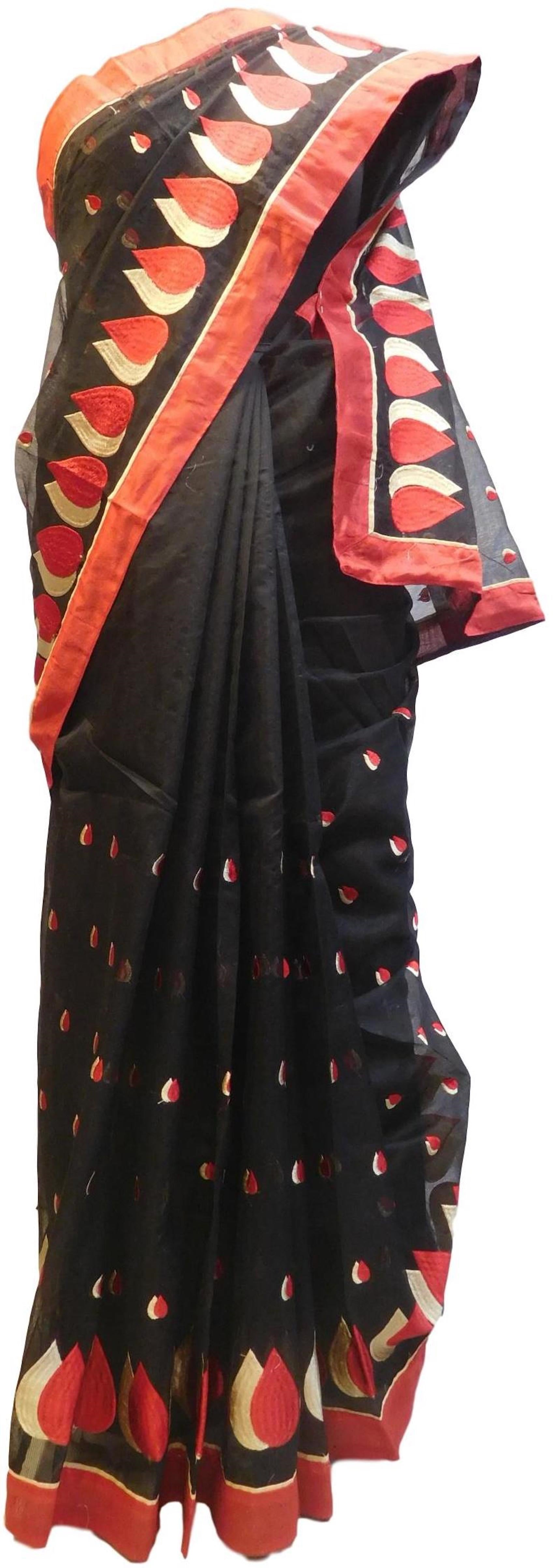 Black Designer PartyWear Pure Supernet (Cotton) Thread Work Saree Sari With Red Border E223