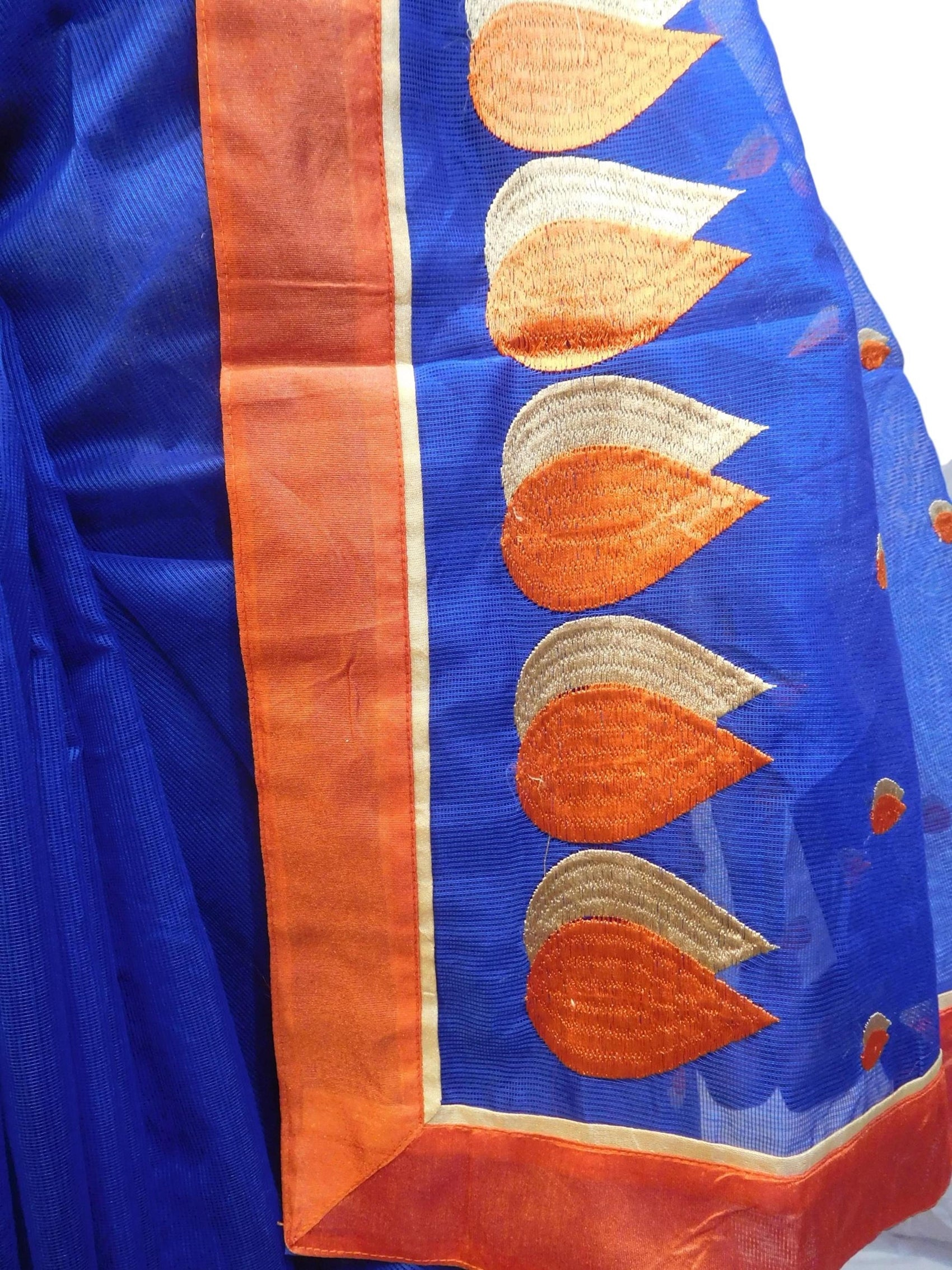 Blue Designer PartyWear Pure Supernet (Cotton) Thread Work Saree Sari With Red Border E224