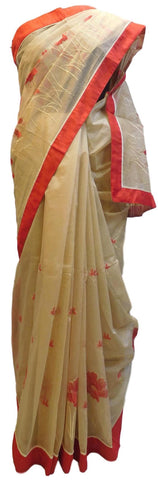 Beige Designer PartyWear Pure Supernet (Cotton) Thread Work Saree Sari With Red Border E225