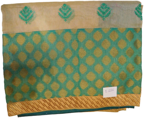 Beige & Turquoise Designer PartyWear Pure Supernet (Cotton) Thread Work Saree Sari E226