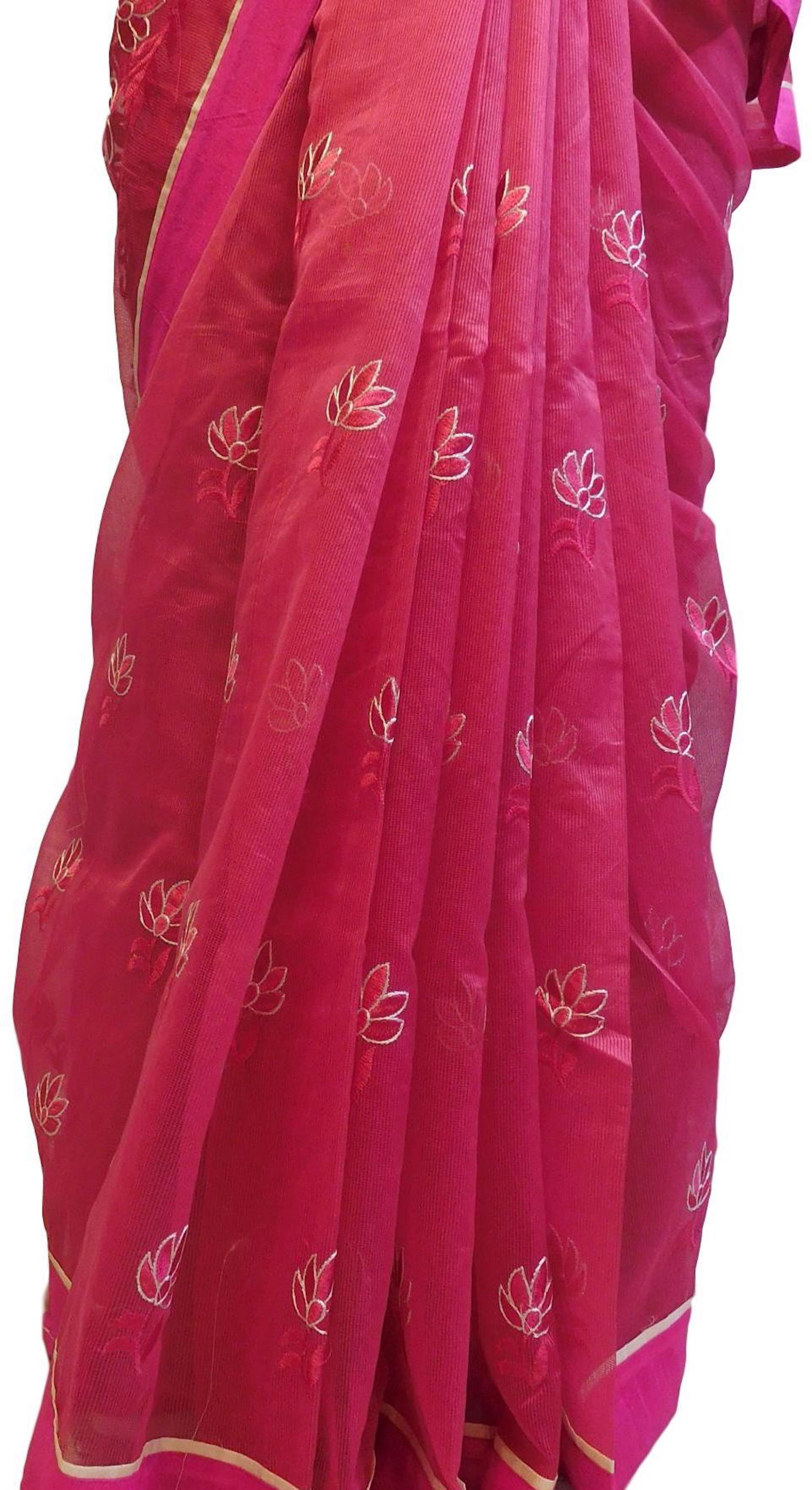 Pink Designer PartyWear Pure Supernet (Cotton) Thread Work Saree Sari E227