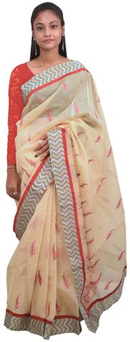 Beige Designer PartyWear Pure Supernet (Cotton) Thread Work Saree Sari With Grey Border E228