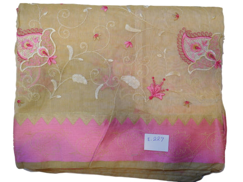 Beige Designer PartyWear Pure Supernet (Cotton) Thread Work Saree Sari With Pink Border E229