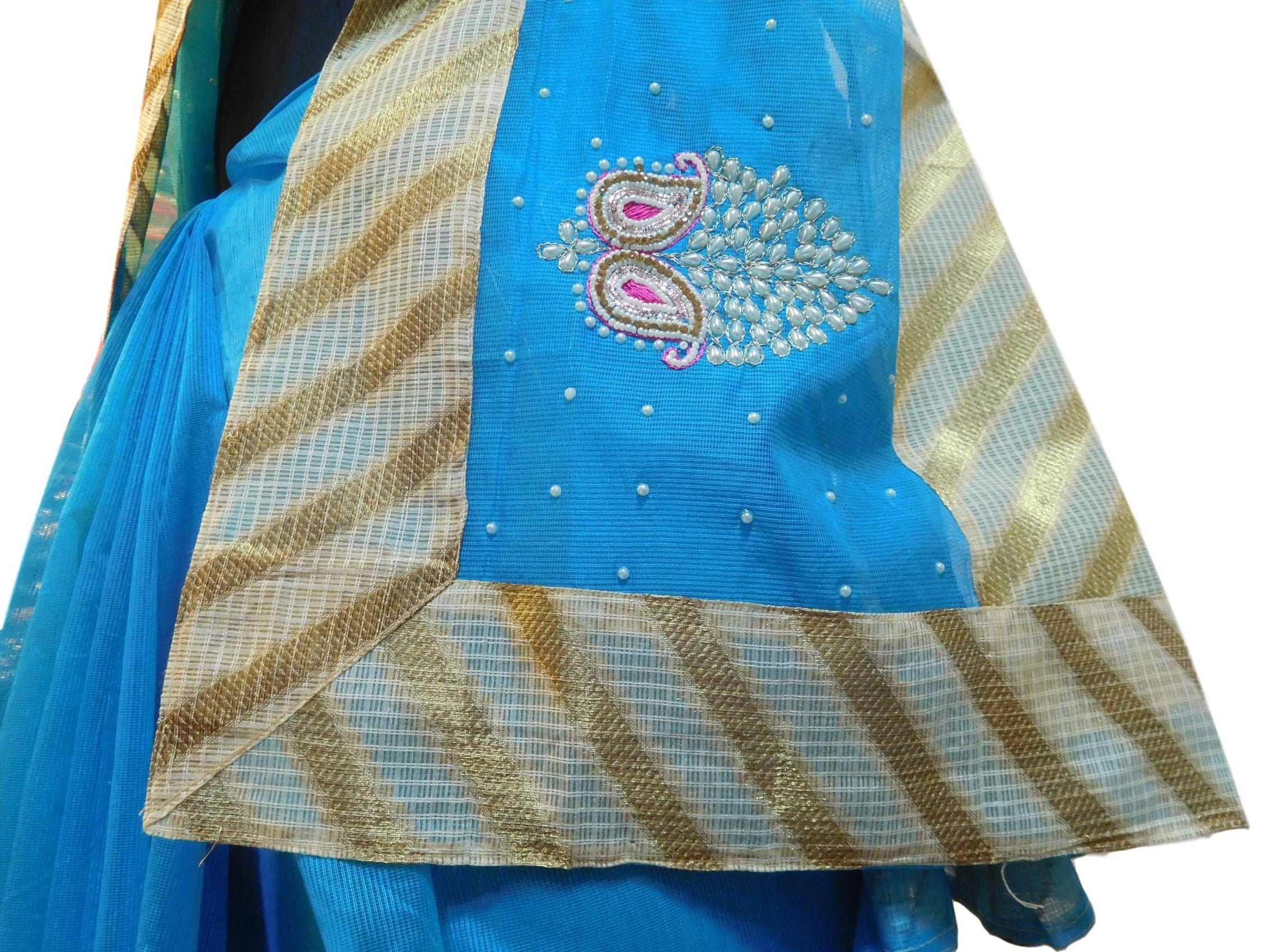 Blue Designer PartyWear Pure Supernet (Cotton) Thread Pearl Stone Work Saree Sari With Golden Border E230