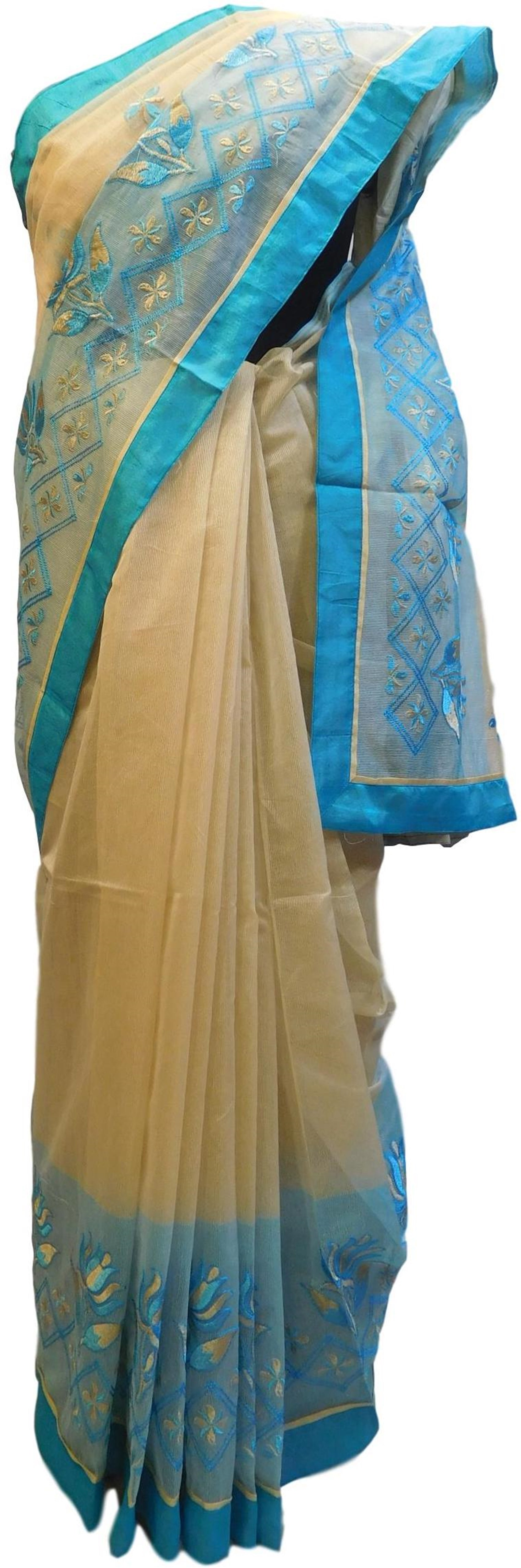 Beige & Blue Designer PartyWear Pure Supernet (Cotton) Thread Work Saree Sari E233