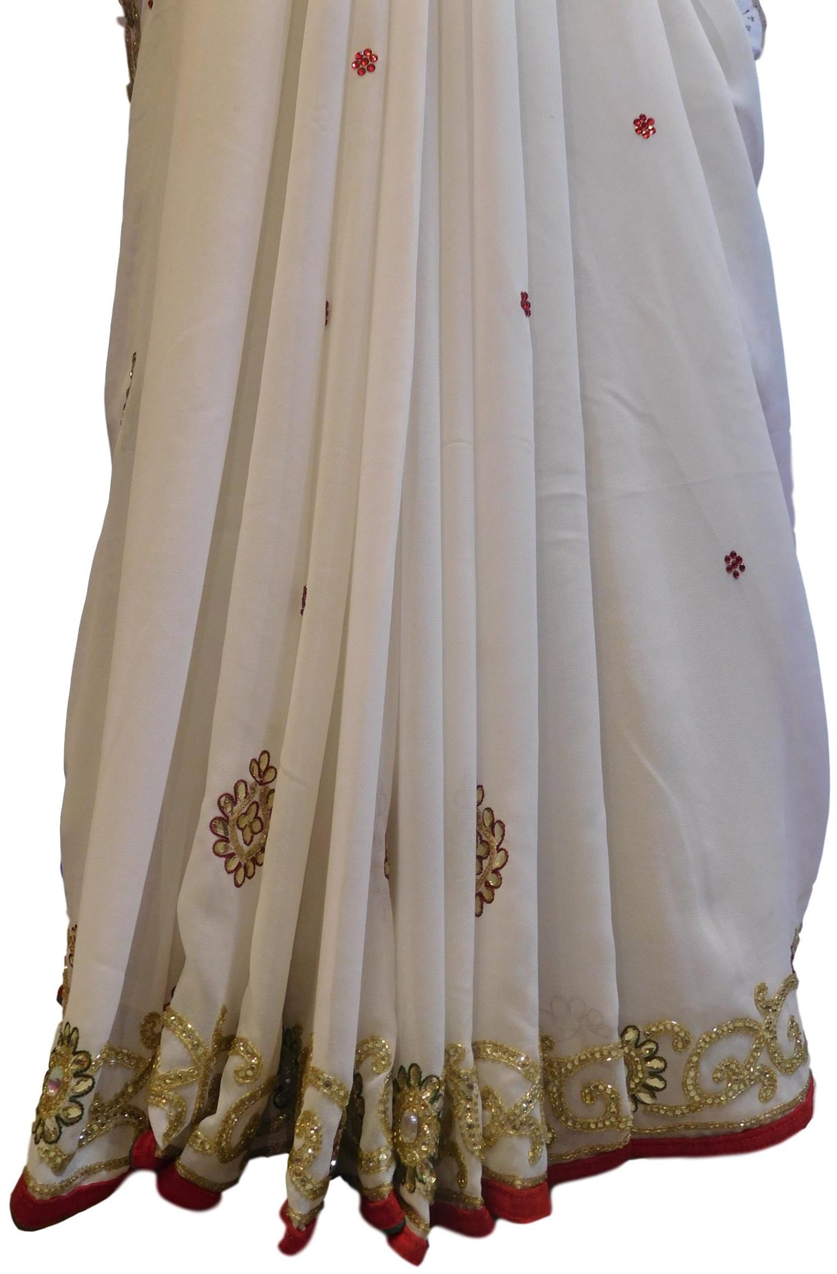 White Designer Wedding Partywear Georgette Hand Embroidery Zari Bullion Stone Thread Work Kolkata Heavy Cutwork Border Saree Sari E234