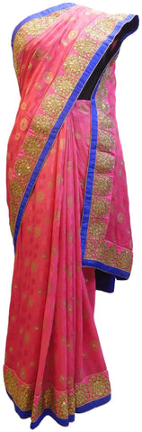 Pink Designer Wedding Partywear Ethnic Bridal Georgette (Viscos) Hand Embroidery Zari Stone Work Kolkata Women Saree Sari E241