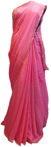 Pink Designer Wedding Partywear Ethnic Bridal Crepe (Chinon) Hand Embroidery Thread Sequence Zari Cutdana Stone Work Kolkata Women Saree Sari E243