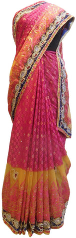 Pink & Yellow Designer Wedding Partywear Brasso Hand Embroidery Cutdana Stone Beads Work Kolkata Saree Sari E246