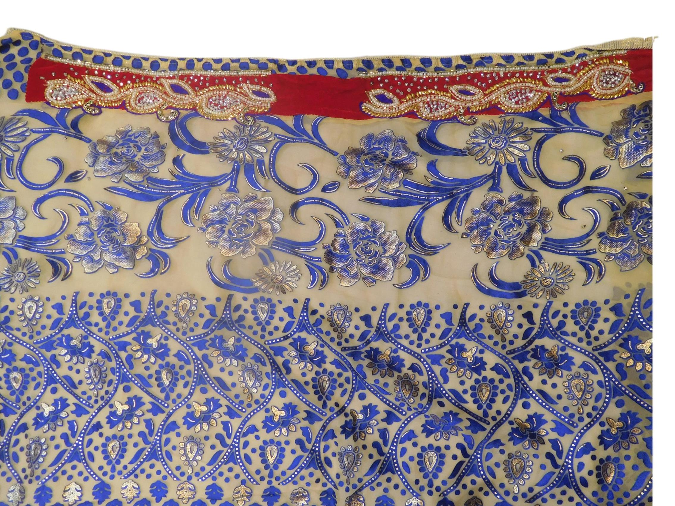 Blue & Cream Designer Wedding Partywear Brasso Hand Embroidery Cutdana Stone Beads Work Kolkata Saree Sari E247