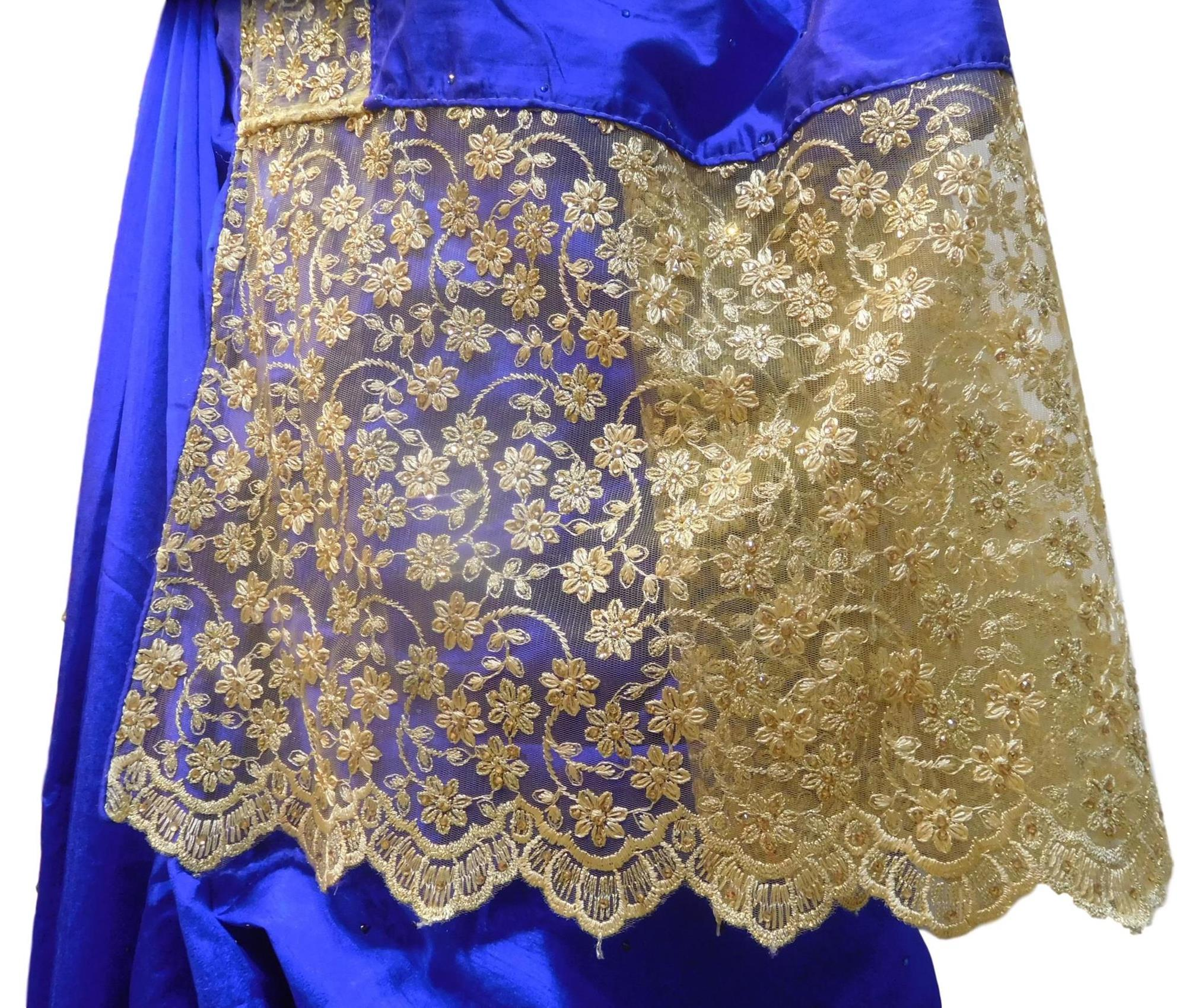 Blue Designer Wedding Partywear Silk Zari Stone Thread Hand Embroidery Work Bridal Saree Sari E258