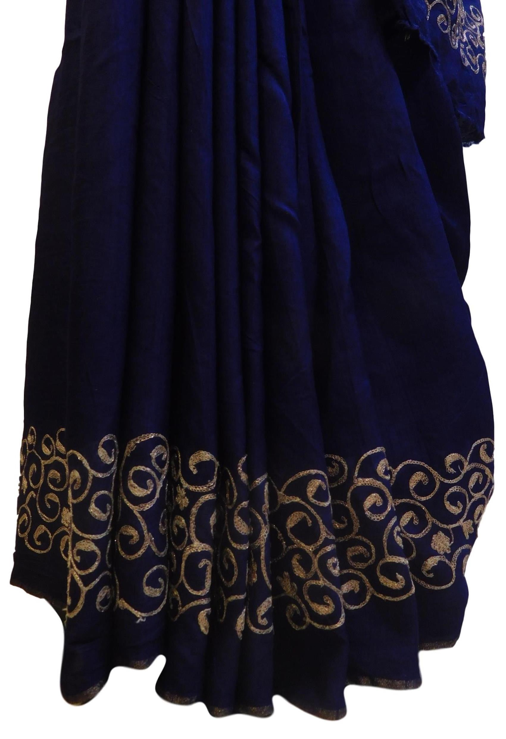 Blue Designer Wedding Partywear Pure Raw Silk Hand Embroidery Zari Aari Work Kolkata Saree Sari E271