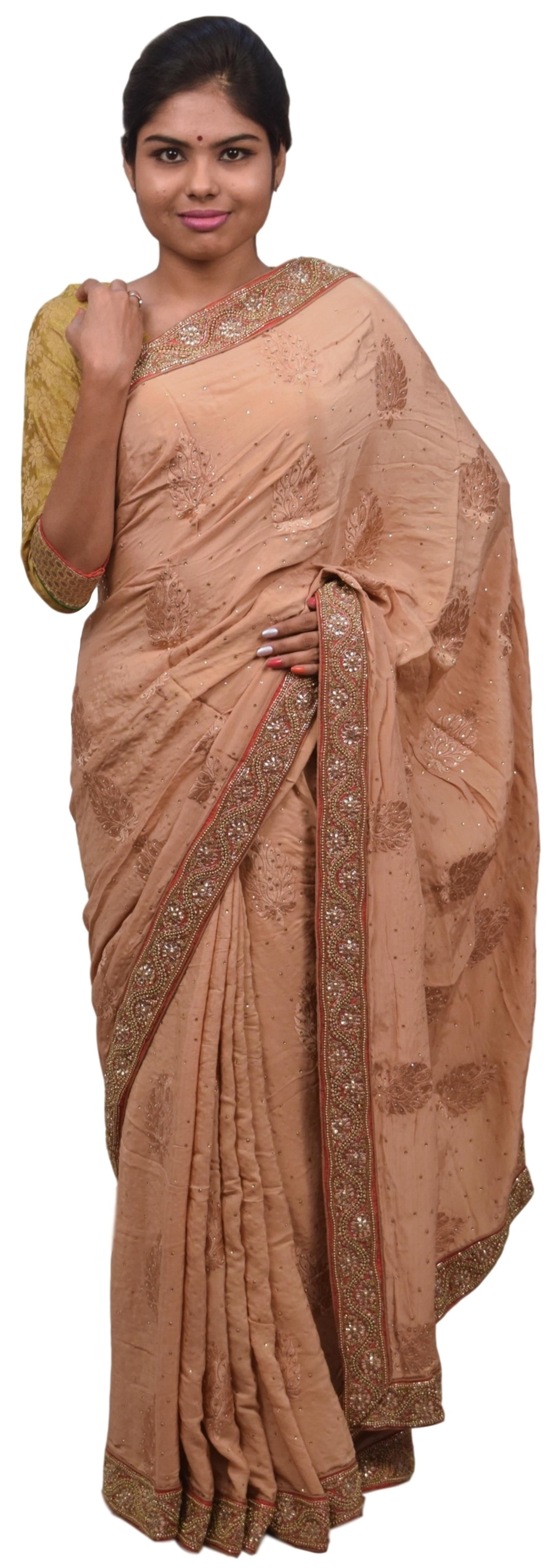 Beige Designer Wedding Partywear Ethnic Bridal Pure Crepe Hand Embroidery Cutdana Thread Bullion Stone Beads Work Kolkata Women Saree Sari E282