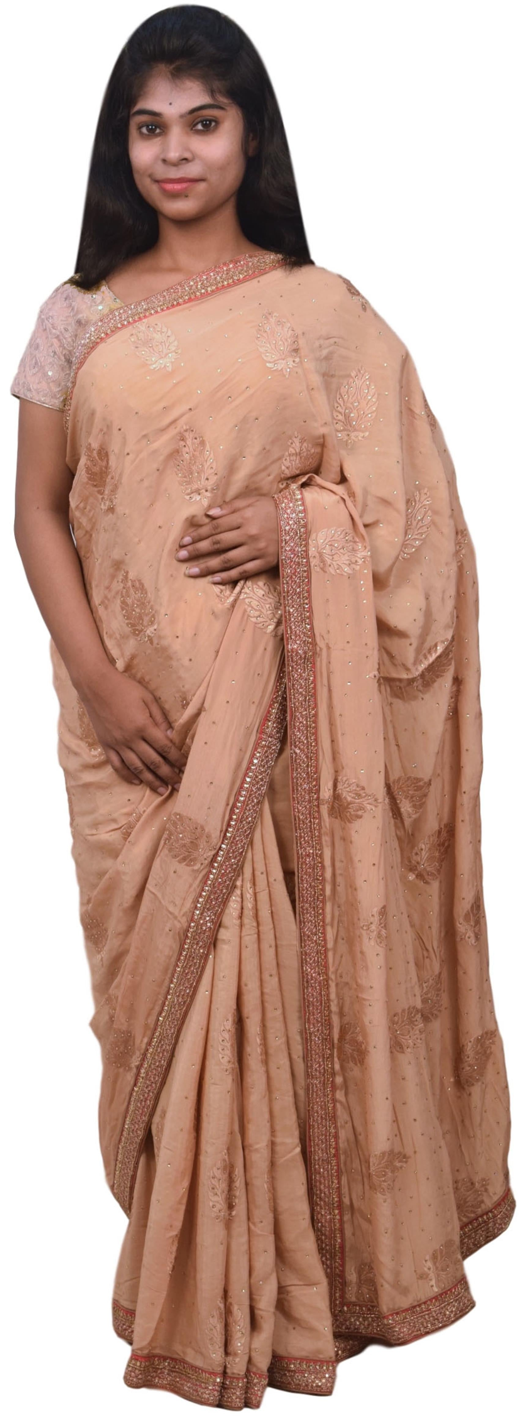 Beige Designer Wedding Partywear Ethnic Bridal Pure Crepe Hand Embroidery Cutdana Thread Bullion Stone Beads Work Kolkata Women Saree Sari E284