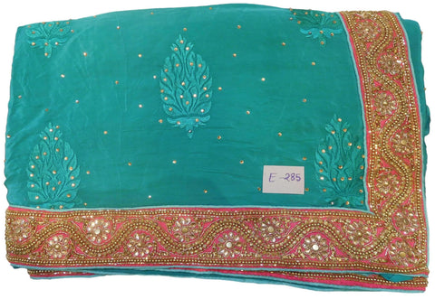 Turquoise Designer Wedding Partywear Ethnic Bridal Pure Crepe Hand Embroidery Cutdana Thread Bullion Stone Beads Work Kolkata Women Saree Sari E285