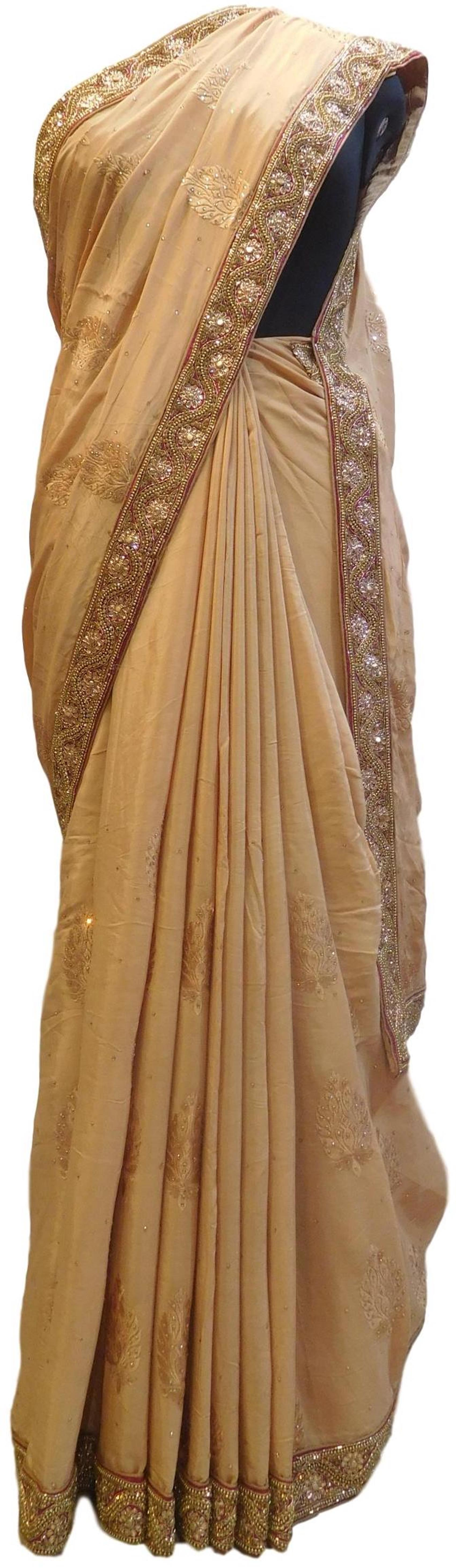 Beige Designer Wedding Partywear Ethnic Bridal Pure Crepe Hand Embroidery Cutdana Thread Bullion Stone Beads Work Kolkata Women Saree Sari E286
