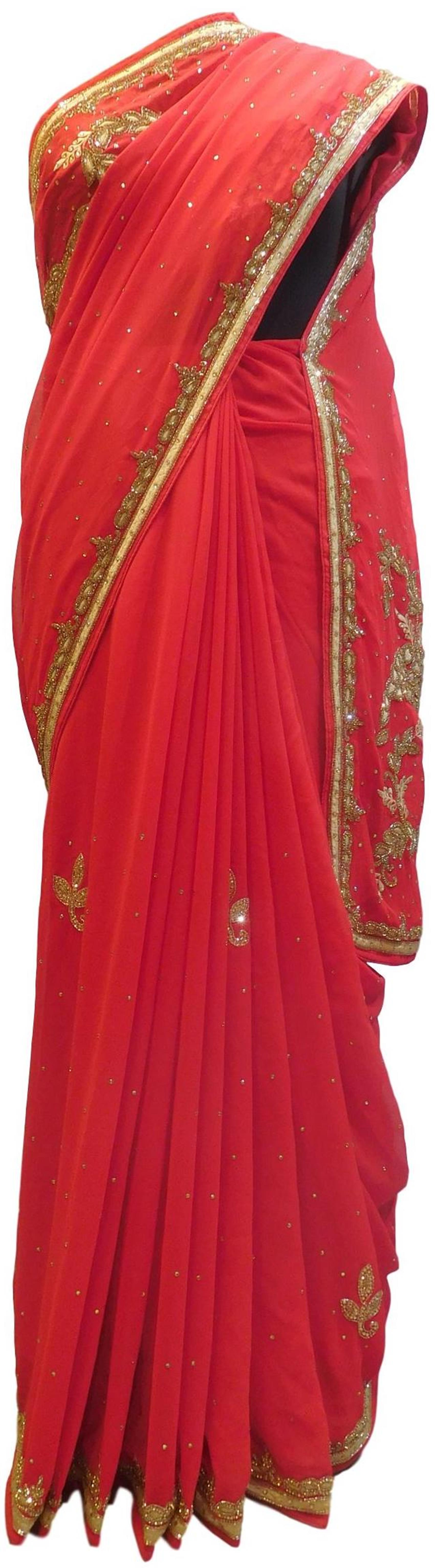 Red Designer Wedding Partywear Georgette Hand Embroidery Thread Cutdana Stone Work Kolkata Saree Sari E290
