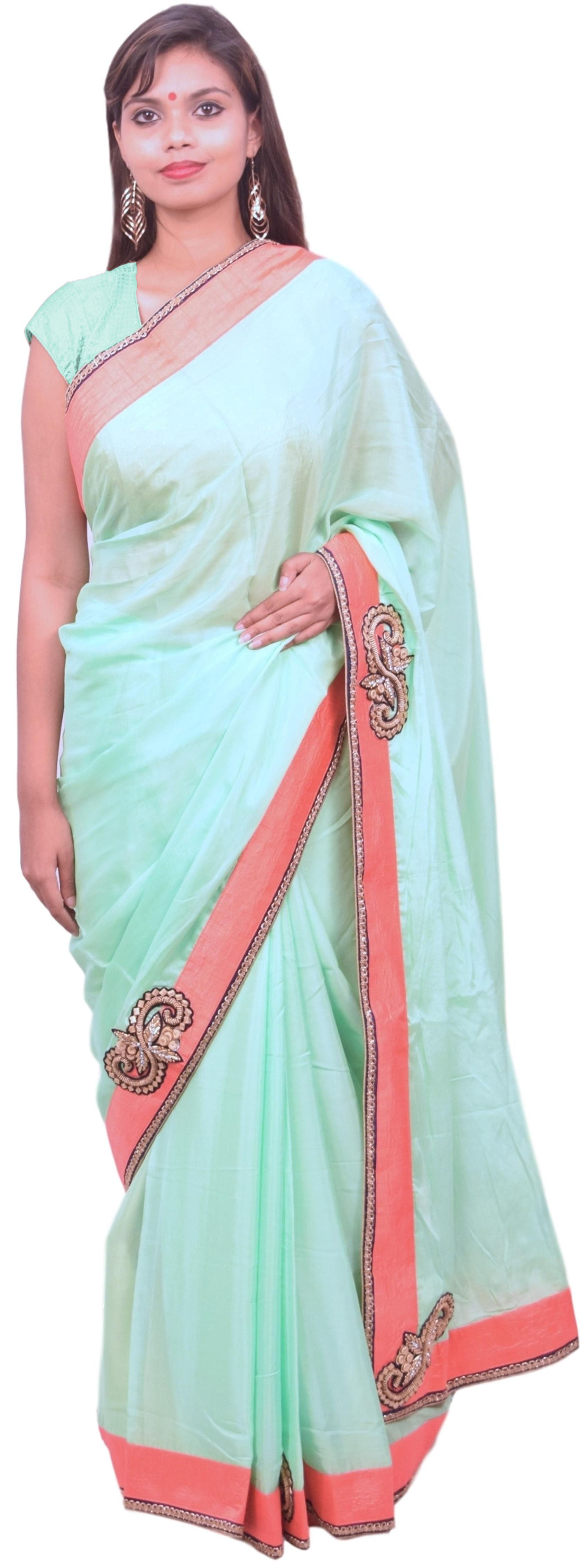 Pista Green Designer Wedding Partywear Ethnic Bridal Crepe (Chinon) Hand Embroidery Beads Thread Zari Cutdana Stone Work Kolkata Women Saree Sari E300