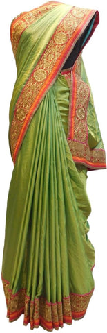 Green Designer Wedding Partywear Ethnic Bridal Dupian Silk Hand Embroidery Zari Sequence Work Kolkata Women Red Blouse Saree Sari E307