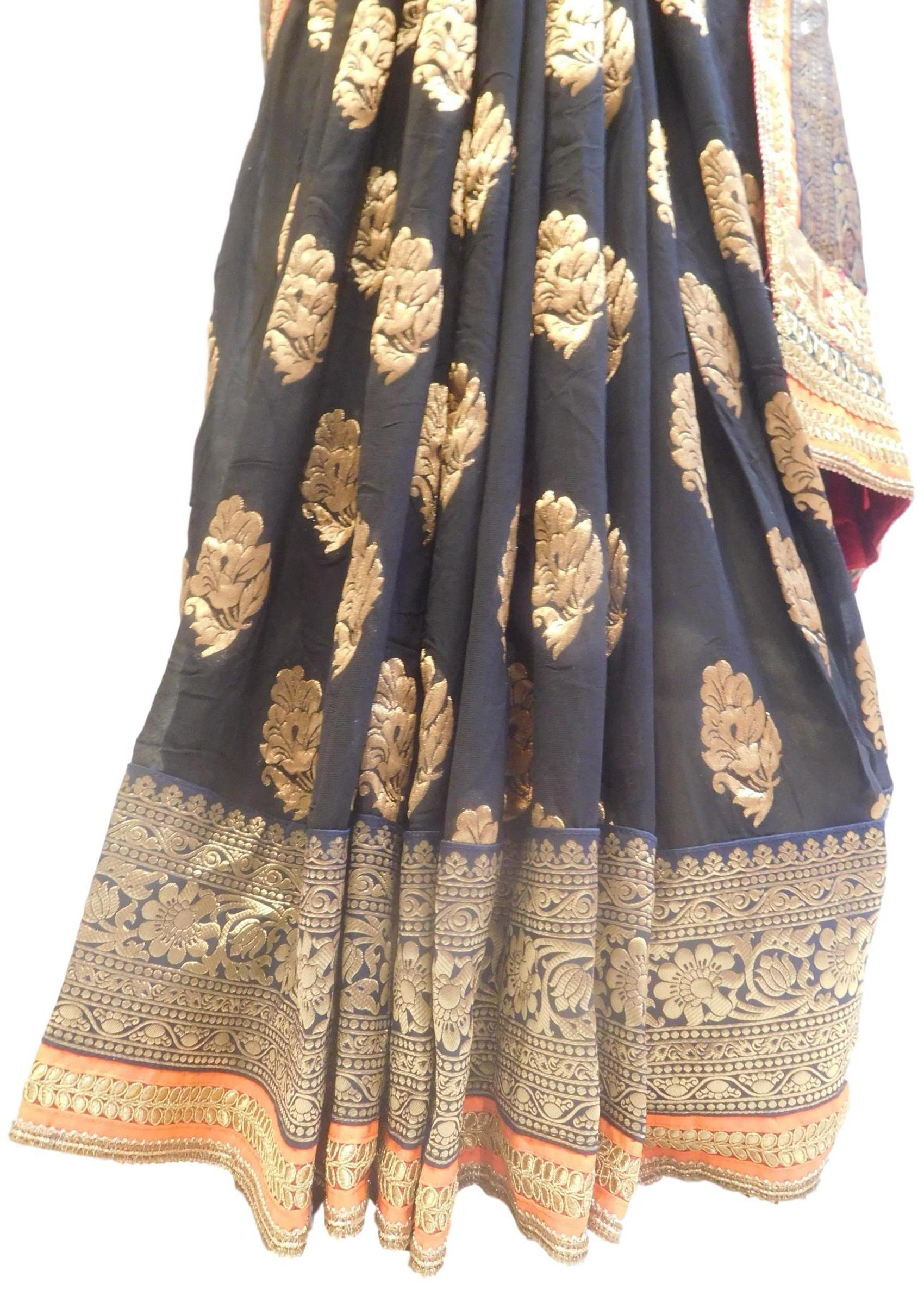 Blue & Black Designer Wedding Partywear Ethnic Bridal Georgette (Viscos) Hand Embroidery Zari Sequence Work Kolkata Women Banarasi Border Saree Sari E312