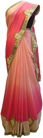 Pink Designer Wedding Partywear Ethnic Bridal Crepe (Chinon) Hand Embroidery Thread Bullion Stone Beads Work Kolkata Women Saree Sari E320