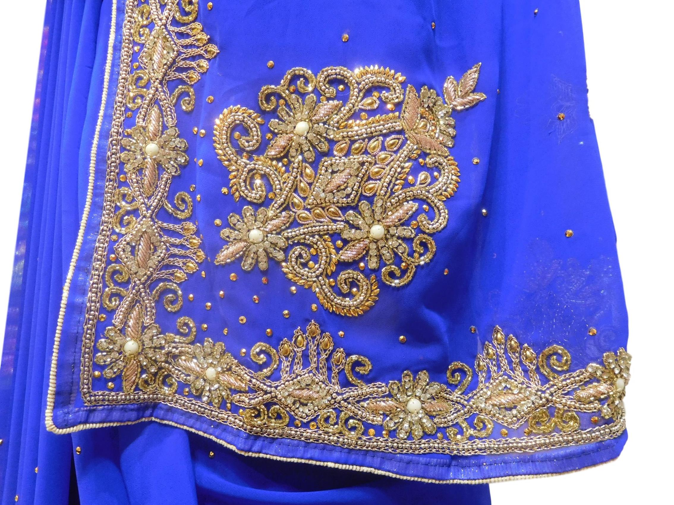 Blue Designer Wedding Partywear Georgette Hand Embroidery Zari Bullion Cutdana Stone Beads Work Kolkata Saree Sari E325