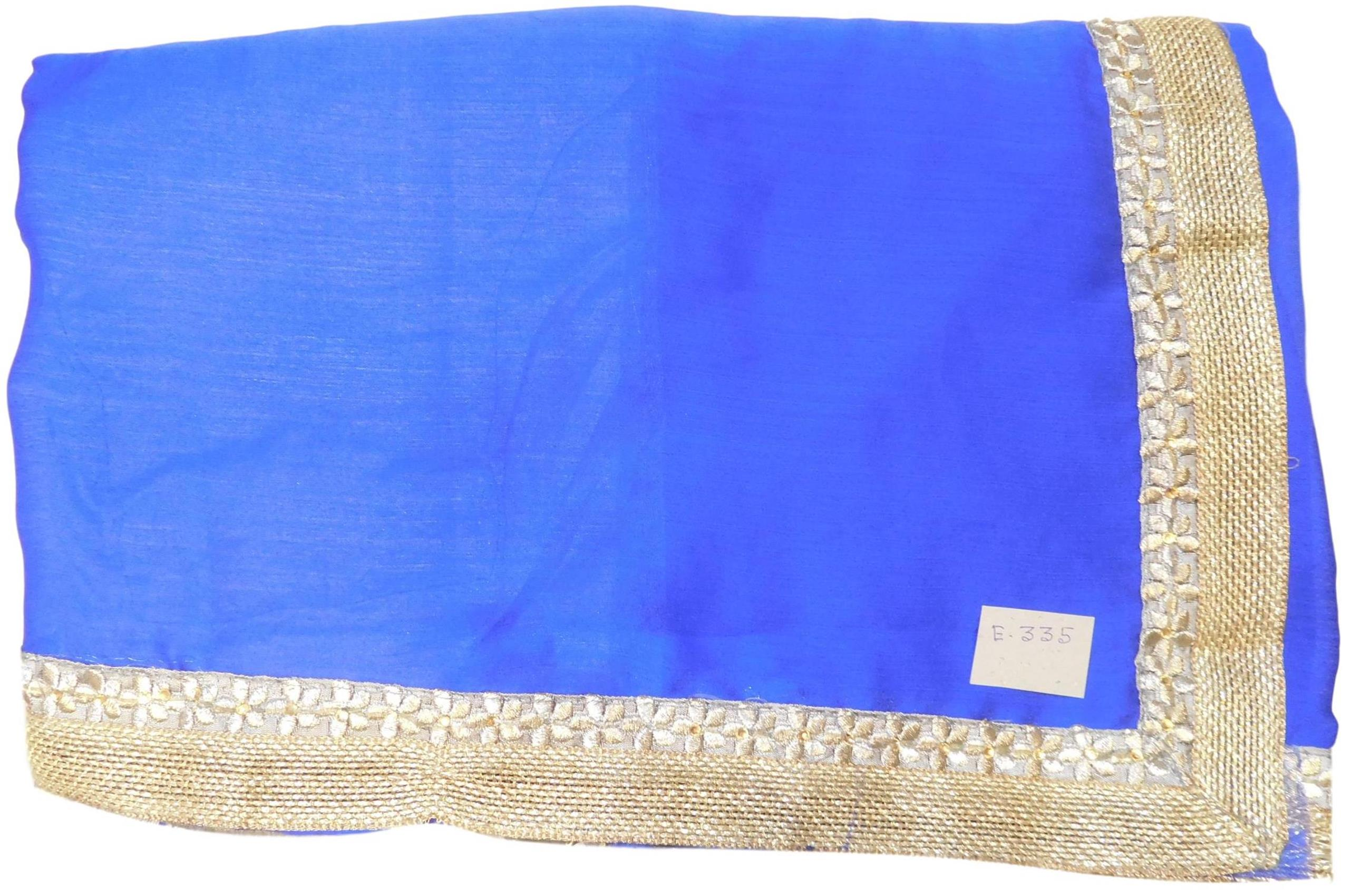 Blue Designer Wedding Partywear Ethnic Bridal Crepe Hand Embroidery Thread Stone Work Kolkata Women Saree Sari E335