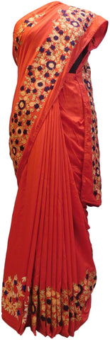 Red Designer Wedding Partywear Pure Muslin Silk Hand Embroidery Zari Thread Work Kolkata Saree Sari E337