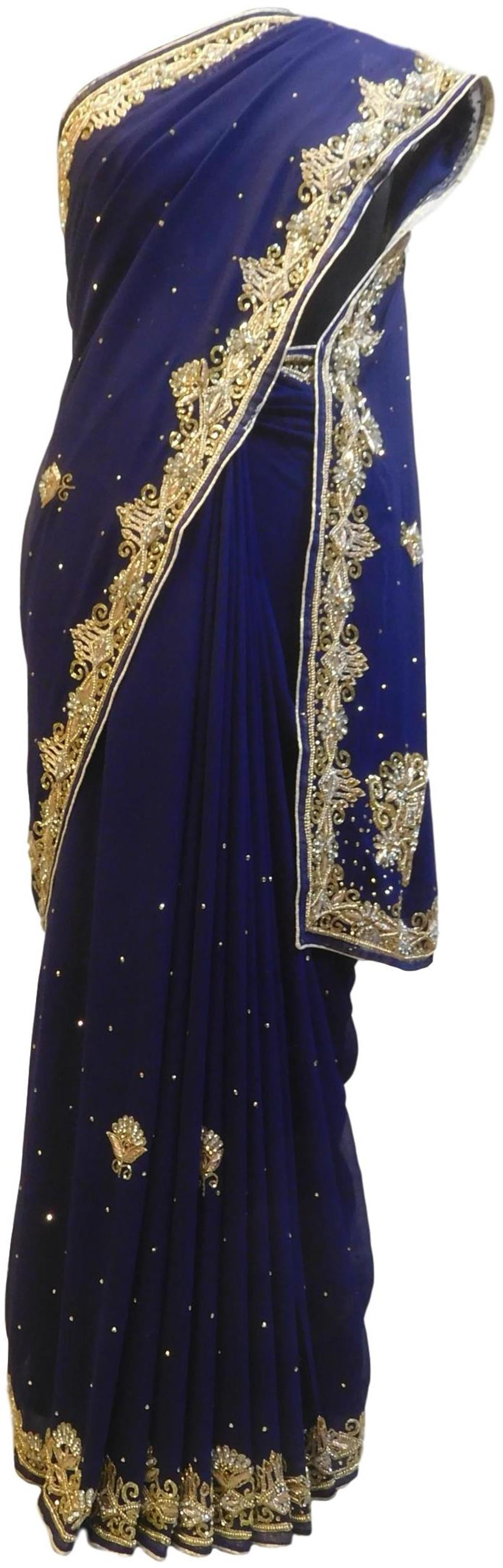 Blue Designer Wedding Partywear Georgette Hand Embroidery Zari Bullion Cutdana Stone Beads Work Kolkata Saree Sari E346