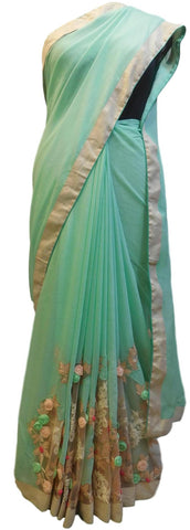 Turquoise Designer Wedding Partywear Ethnic Bridal Crepe (Chinon) Hand Embroidery Thread Bullion Stone Beads Work Kolkata Women Saree Sari E349